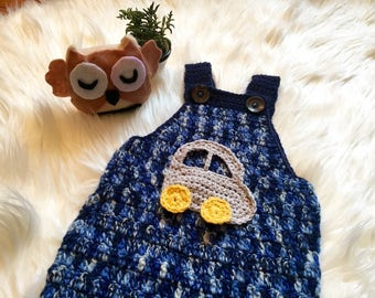 Hand Crochet Baby boy jumpsuit / Crochet Baby Clothes/ Cotton Baby Knitwear/ Kids Winter Clothes/ Boy clothing