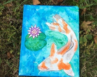 "New original wall art, acrylic painting, picture,Artisan crafted  "" Koi Fish Painting"" Home decor * accent piece"