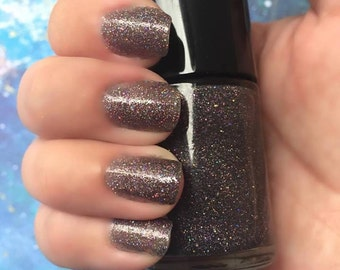 Dark Matter - Smokey Grey Jelly Nail Polish with Scattered Holo Glitter