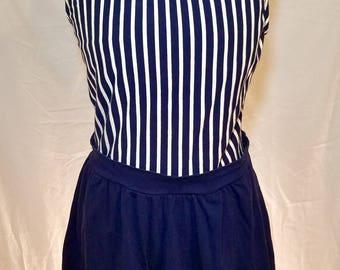 80s nautical jantzen swimsuit romper one piece blue and white stripes shorts vintage retro