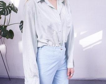 mint green vintage pure silk blouse 80's 90's minimal top shirt