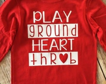 Play Ground Heart Throb, Heart Elbow Patches, Valentines Day Shirt, Matching Sibling Shirt