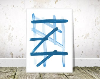Blue Abstract Print, Brushstrokes, PRINTABLE Art, Abstract Wall Art, Geometric Line Print, Modern Abstract,Blue Wall Art,Blue Decor,Wall Art