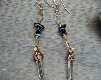 Onyx and smoky quartz crystal earrings