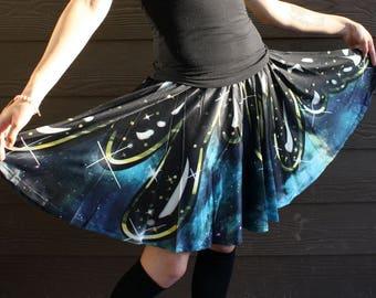 Dark Drip Galaxy Skater Skirt - Goth Galaxy Print Skirt - One Size and Plus Size