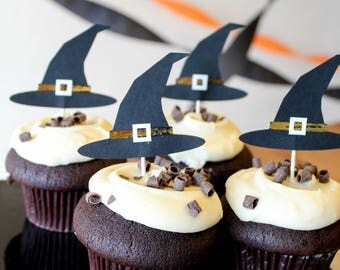 Halloween Witch Hat Cupcake Toppers - Oh Goodness Paper Co