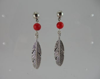 "Earrings ""Feather and red turquoise"""