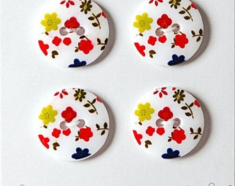 Set of 4 buttons liberty style flowers 18 mm - button sew small red flower - button small flowers red white