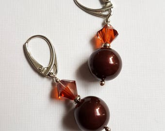 Brown Swarovski Pearl with Copper Crystal, Sterling Silver, Dangle Earrings, Lever Back