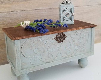 Dollhouse Furniture, Miniature Chest, Miniature Bench, Hope Chest, Dollhouse Miniatures, Miniature Furniture, Blanket Chest, Handmade