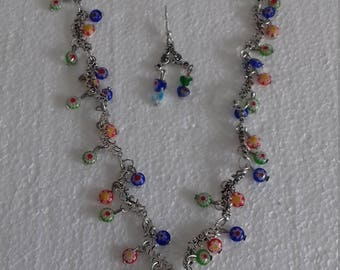 """Necklace """"at the range"""" hand made and matching earrings."""