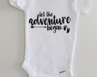 Let the Adventure begin... Baby Onesie / Perfect Baby Announcement Addition / Baby Gift / Surprise We Are Pregnant! Bodysuit