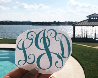 Script monogram sticker, Monogram Decal- Simple Monogram- Vinyl decal for Tumbler- Yeti Decal- RTIC- Personalized Decal- Customized Decal