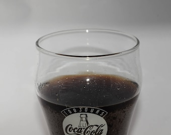 "Coca Cola Glass, Glass Cup, Coca Cola Collectible Glass, ""Toujours Coca-Cola"", French Coca Cola Glass, 1993 Soda Fountain"