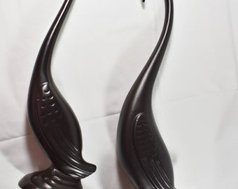 Set Of Large Vintage Black Heron Statues, Retro Home Decor, Table Statues,  Home