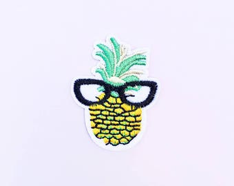 A-Frame Pineapple Iron On Patch - Nerd Patch - Pineapple Patch - Cute Patch - Kawaii Clothing - Food Patch - Summer Patch - California Patch