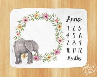 Baby Month Blanket, Elephant Month Blanket, Baby Girl Personalized Milestone Blanket, Milestone Blanket girl, Baby Girl Month Blanket, Month
