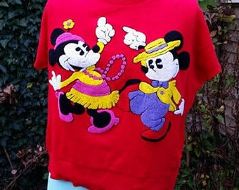 Vintage 80's Disney Sweater, Cropped Sweater, Tufted Punch Embroidery, Oversized Sweater