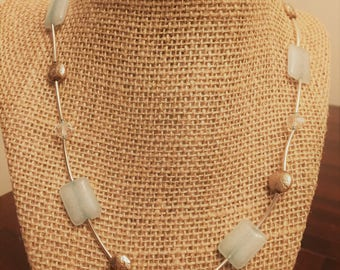 Light Blue and Metallic Necklace