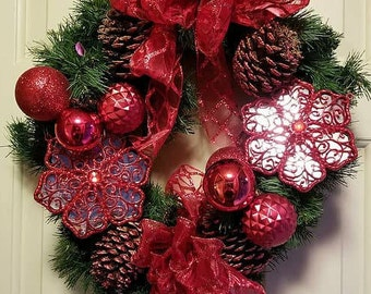 Red Ribbon Christmas Wreath