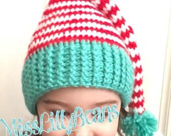 "Crochet Elf Hat ""Santa's little helper"", Christmas Holiday, Photo Prop, Toddler Hat, Candy Cane Stripes"