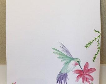 Watercolor Stationary - Hummingbird