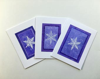 Snowflakes on purple blank cards (set of 3), individually handmade: holiday cards, solstice, let it snow, SKU BLA21062