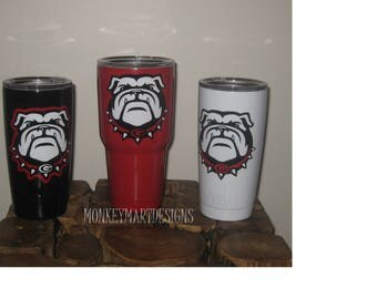 "YETI RAMBLER tumbler cup custom made with ""GEORGIA Bulldogs"" logo,20oz Yeti or 30oz powder coated black,red, white"