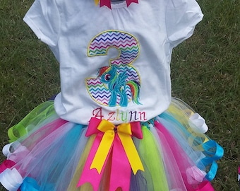 My Little Pony Rainbow Dash 3rd Birthday Embroidered Shirt with Mulit-Colored Ribbon Trim Tutu