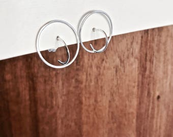 Sterling Silver Wire Earrings, Wire Circle Earrings, Circle Studs, Geometric Jewelry