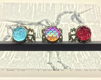 Bronze Magical Dragon, Mermaid, Unicorn, Fairy, Elves, witch rings