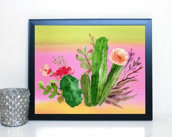 Printable art Beautiful Watercolor Cacti Cactus Wall Art Living Room Dorm Office Bedroom Decor Lovely Colorful Floral Print