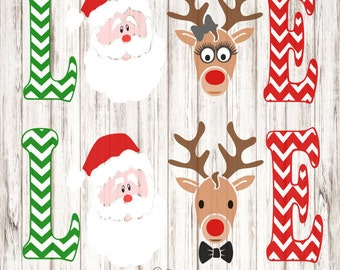 Christmas LOVE SVG, Christmas Love Santa and Reindeer SVG