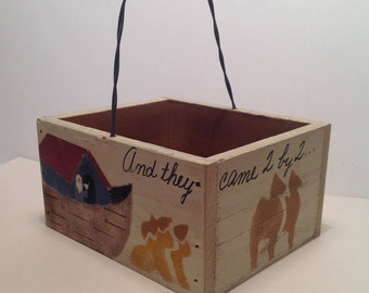 Noah's Ark - Hand Painted Wood Box with Handle