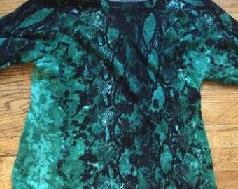 Green Cashmere Blend Snakeskin Print Sweater [THANKSGIVING SALE]