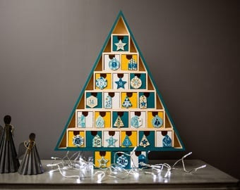 Wooden Christmas tree advent calendar painted and decorated