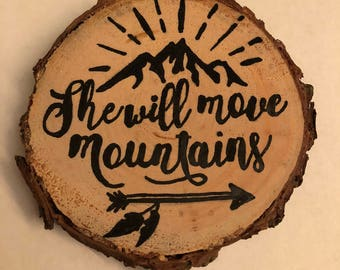Primitive Wood Slice Ornament - Mountains