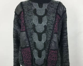 Vintage 1990's CHIA Leather Patch Sweater