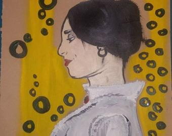 Yellow Woman Painting Acrylic on Bristol Paper
