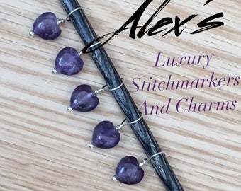 Sterling Silver and Amethyst Stitch Marker & Charm Set
