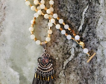 Gold Accented White Quartz Beaded Necklace with Drop Pendant