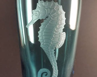 Seahorse - Cup - Sea Horse - Etched Glass - Carved Glass - Blue Glass - Drinking Glass - Beach - Art - Home Decor - 3D