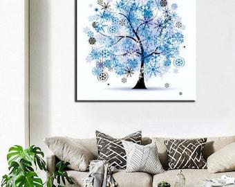 5D Diamond Embroidery Cross Stitch Kit Rhinestone Painting Dazzling Bling Tree Diamond Mosaic Painted at Home Decoration
