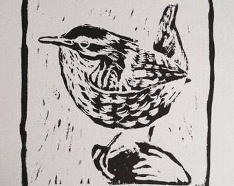 "Original, Unframed, Hand Pulled, Linocut Print - Anna's Wren -  Approx 5"" Square on A4 Paper - lino ink paper - garden bird"