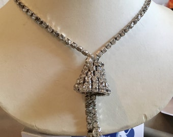 Rhinestone Encrusted Bell Choker Necklace