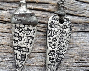 Urban Leaf Earring Drops  Mismatched  in Black and White and Solder  Ceramic by Mary Harding