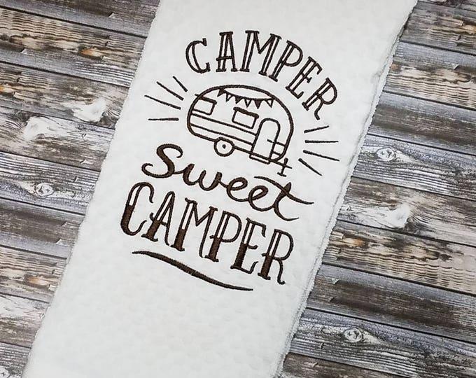 Camper Kitchen Towel, Caravan Waffle Weave Towel, Camper Decor, RV Decor, Dish Towels, Kitchen Decor, Camper Sweet Camper