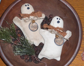 2 Primitive Grungy Rustic Halloween Spooky BOO Ghost Ornies Ornaments Bowl Fillers Tucks Shelf Sitters