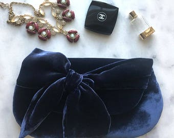 Navy Blue Velvet Clutch. Deep Jewels. Gift for Her. Velvet Purse. Velvet Bag. Holiday Clutch. Holiday Party. Cocktail Party. READY TO SHIP