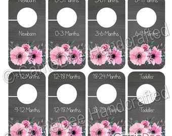Nursery Closet Dividers, PRINTABLE Rustic Pink Floral Baby Decor, DIY Instant Download, Baby Girl Closet Organizers, ID001-CBNS